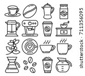 coffee icon line for coffee... | Shutterstock .eps vector #711356095