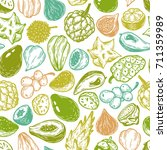 pattern with vector exotic... | Shutterstock .eps vector #711359989