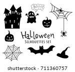 vector halloween silhouettes... | Shutterstock .eps vector #711360757