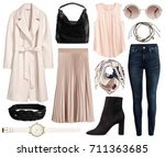 a set of fashionable clothes... | Shutterstock . vector #711363685