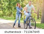 shot of a happy man riding... | Shutterstock . vector #711367645