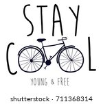 stay cool slogan and hand... | Shutterstock .eps vector #711368314
