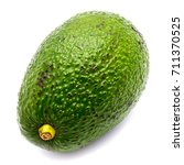 Small photo of One whole avocado (Persea americana, alligator pear) isolated on white background