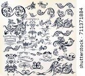 calligraphic vector vintage... | Shutterstock .eps vector #711371884