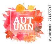 autumn leaf foliage watercolor .... | Shutterstock .eps vector #711377767
