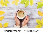 woman hands holding morning cup ... | Shutterstock . vector #711380869
