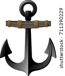 ancient metal anchor with a... | Shutterstock .eps vector #711390229