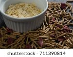 bowl of corn bran with cereal... | Shutterstock . vector #711390814