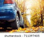 Car On Asphalt Road On Autumnr...