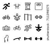 fitness icons set. set of 16... | Shutterstock .eps vector #711398575