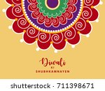 beautiful rangoli design based... | Shutterstock .eps vector #711398671