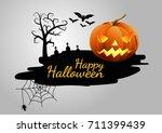 halloween pumpkins and dark... | Shutterstock .eps vector #711399439