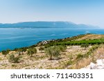 view from the hill on the... | Shutterstock . vector #711403351