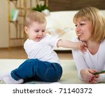 young mother with her little...   Shutterstock . vector #71140372