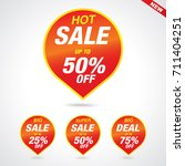 hot sale tags with sale 25   75 ... | Shutterstock .eps vector #711404251