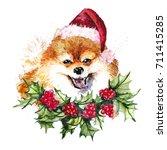 watercolor artistic orange... | Shutterstock . vector #711415285