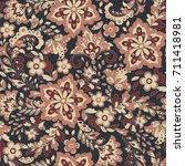 cute flower seamless pattern.... | Shutterstock . vector #711418981