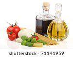 Italian food ingredients on a white background - stock photo