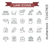 law icons  thin line flat design | Shutterstock .eps vector #711427825