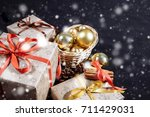 christmas composition with copy ... | Shutterstock . vector #711429031