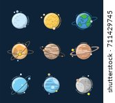 planet in solar system with... | Shutterstock .eps vector #711429745