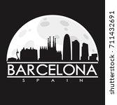 barcelona full moon night... | Shutterstock .eps vector #711432691