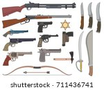 set. a variety of weapons. | Shutterstock .eps vector #711436741