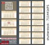 2018 calendar  design in yellow ... | Shutterstock .eps vector #711441691