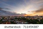 sunset top view of bangkok... | Shutterstock . vector #711454387