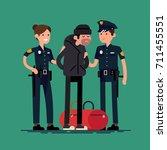 cops holding arrested criminal. ... | Shutterstock .eps vector #711455551