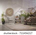 modern grey stone wall luxury... | Shutterstock . vector #711456217