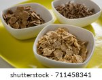 close up of wheat flakes and... | Shutterstock . vector #711458341