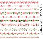 vector floral borders in pink... | Shutterstock .eps vector #711477445