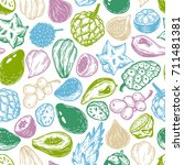pattern with vector exotic... | Shutterstock .eps vector #711481381
