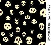 seamless halloween pattern with ... | Shutterstock .eps vector #711484519