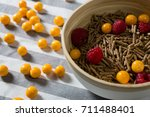 bowl of cereal bran stick with... | Shutterstock . vector #711488401