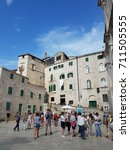 square with tourists at the old ... | Shutterstock . vector #711505555