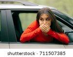 car sick woman having motion...   Shutterstock . vector #711507385