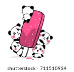 happy cute pandas eat fruit ice ... | Shutterstock .eps vector #711510934