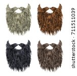 set long curly  beard and... | Shutterstock .eps vector #711511039