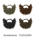 set long curly  beard and... | Shutterstock .eps vector #711511054