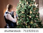 father with son  family near... | Shutterstock . vector #711523111