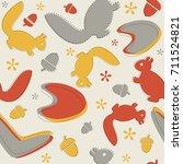 mid century autumn pattern.... | Shutterstock .eps vector #711524821