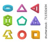 impossible objects set. type of ... | Shutterstock .eps vector #711532654