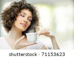 woman with an aromatic coffee... | Shutterstock . vector #71153623