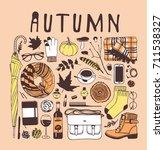hand drawn fall illustration.... | Shutterstock .eps vector #711538327