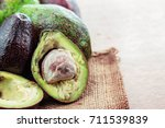 avocado of cuts on the sack. | Shutterstock . vector #711539839