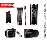 charcoal cosmetics set with... | Shutterstock .eps vector #711543325