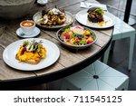 australian lunch style in the... | Shutterstock . vector #711545125