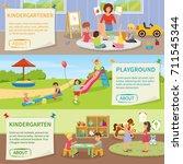 set of flat horizontal banners... | Shutterstock .eps vector #711545344